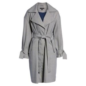 Halogen Lightweight Plaid Trench Coat S/P NWT